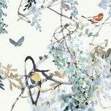Sanderson Wisteria Falls Panel A Aqua Mural - Product code: 216298