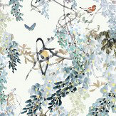 Sanderson Wisteria Falls Panel B Aqua Mural - Product code: 216299