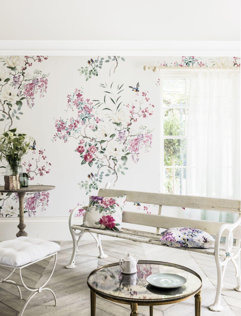 Magnolia & Blossom Panel A Mural - Multi - by Sanderson
