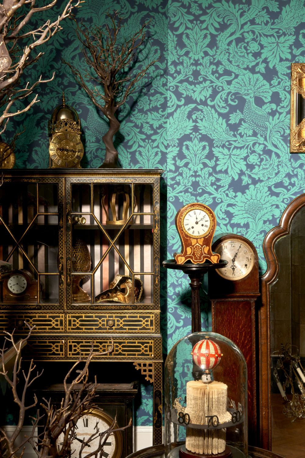 Balabina Wallpaper - Midnight and Jade - by Cole & Son