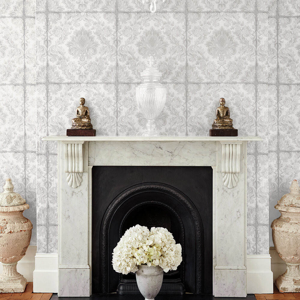 Cole & Son Stravinsky White / Silver Wallpaper - Product code: 108/4020