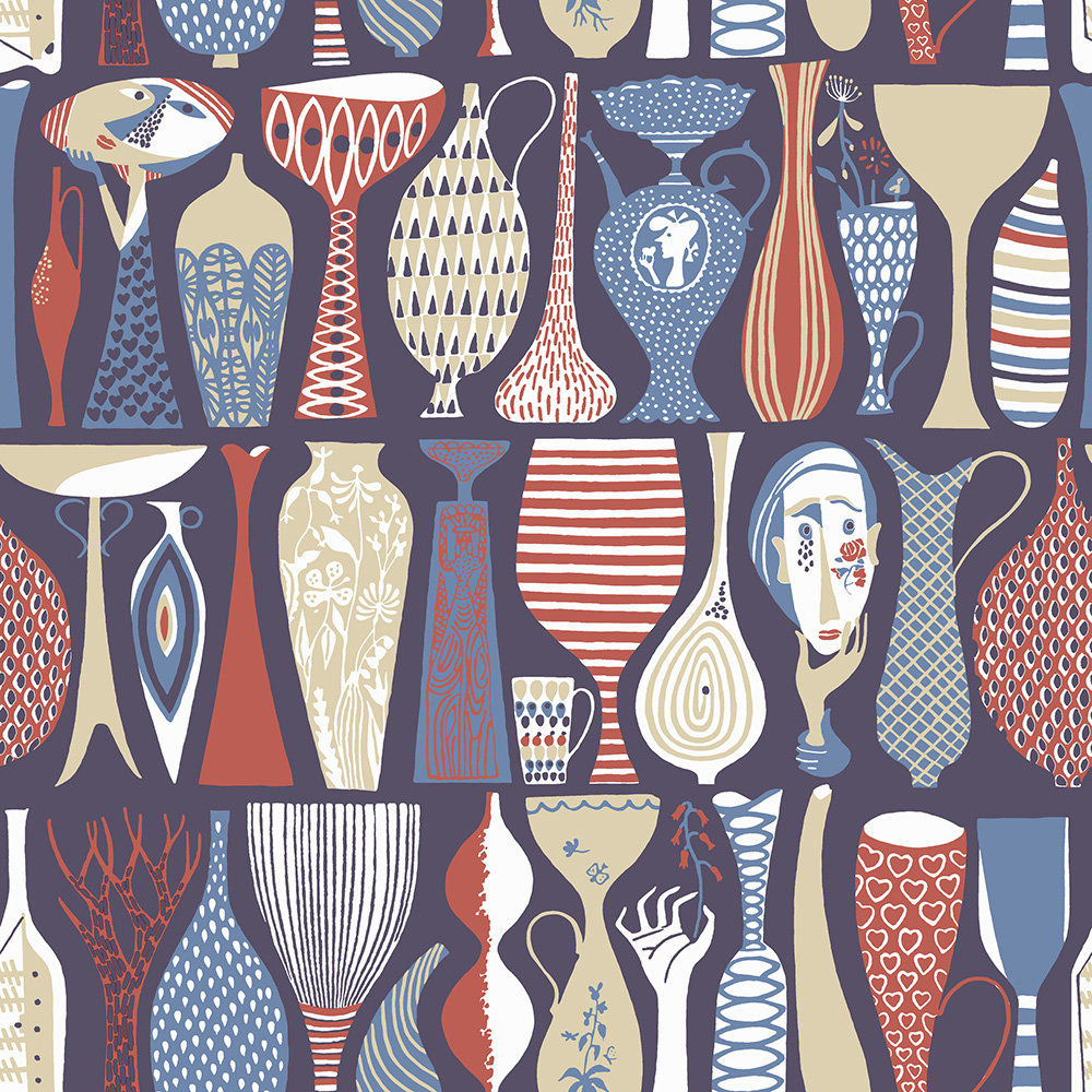 Boråstapeter Pottery Red and Blue Wallpaper - Product code: 1760