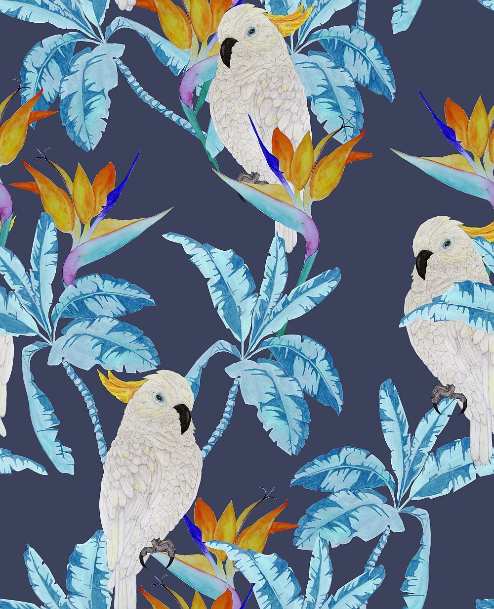 Graduate Collection Cockatoo Blue Wallpaper - Product code: AD1COCWALB