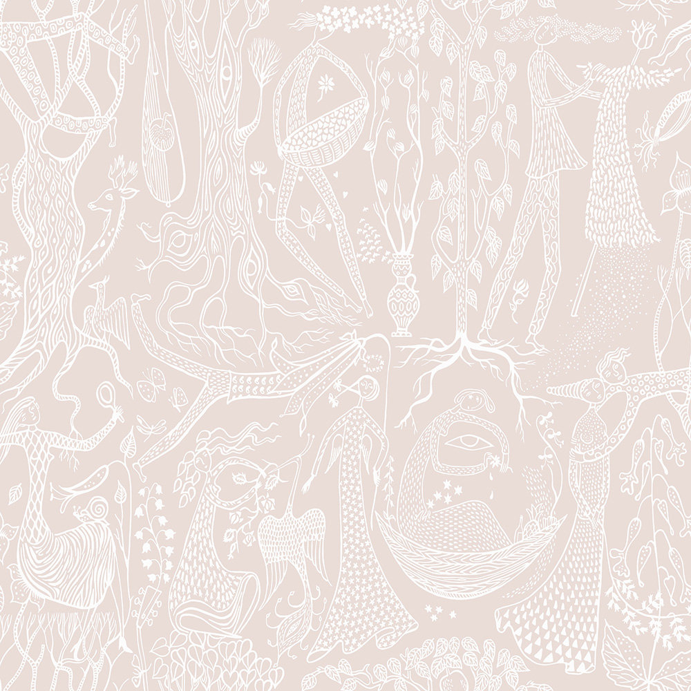 Borastapeter Poeme Damour Pale Pink Wallpaper Main Image
