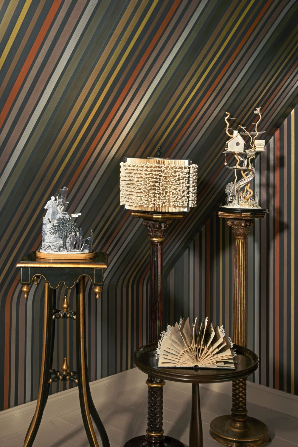 Cole & Son Carousel Stripe Charcoal Wallpaper - Product code: 108/6031