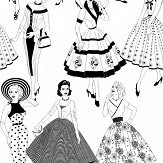 Dupenny Vintage Dress Black / White Wallpaper