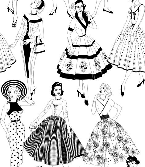 Dupenny Vintage Dress Black / White Wallpaper - Product code: VINTAGEDRESS 10M BW