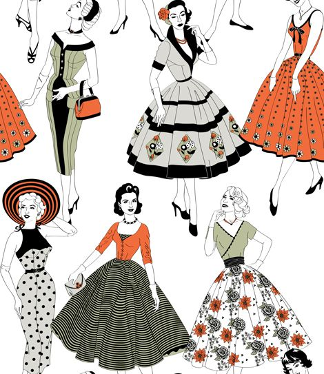 Dupenny Vintage Dress Multi-coloured Wallpaper - Product code: VINTAGEDRESS 10M COL