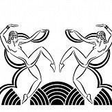 Art Decor Designs Dancing Girls Black / White Wallpaper - Product code: DG 01 B-W