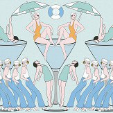 Art Decor Designs Deco Swimmers Eau de Nil Wallpaper