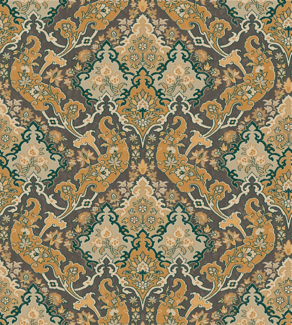 Cole & Son Pushkin Ginger and Charcoal Wallpaper main image