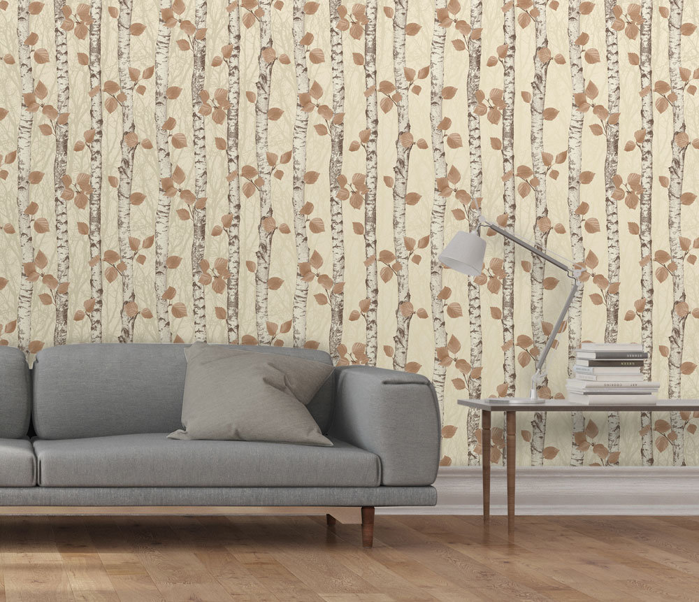 Albany Birchwood Autumnal Gold Wallpaper extra image