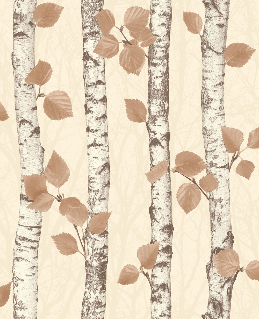 Albany Birchwood Autumnal Gold Wallpaper main image