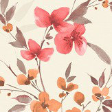 Albany Blossom Red / Orange Wallpaper