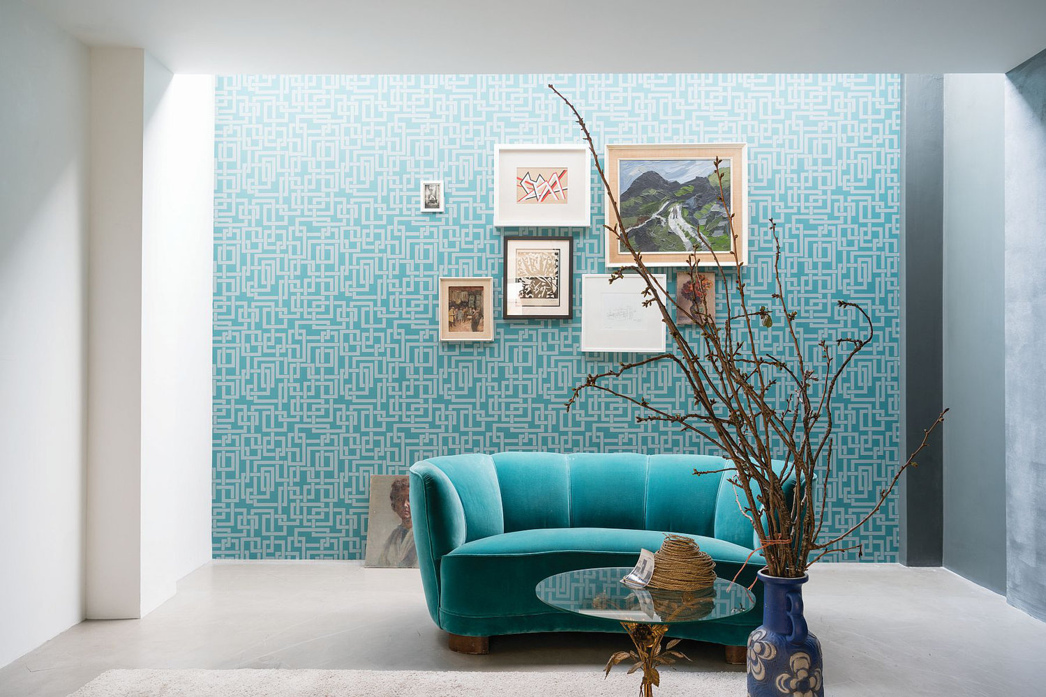 Enigma Wallpaper - Teal - by Farrow & Ball