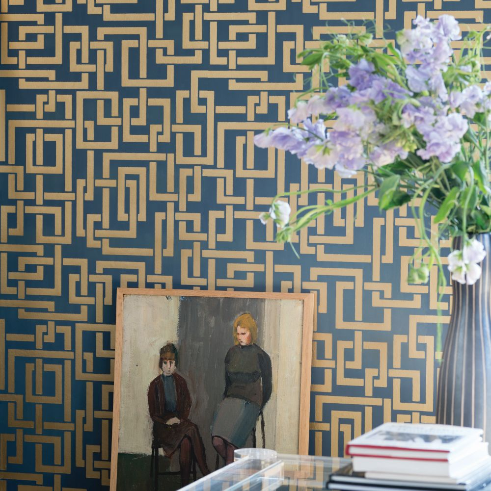 Farrow & Ball Enigma Blue Wallpaper - Product code: BP 5506