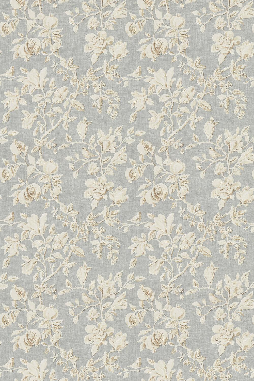 Magnolia & Pomegranate Fabric - Grey Blue / Parchment - by Sanderson