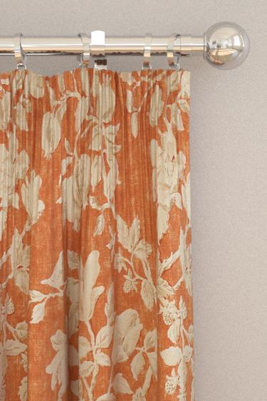 sanderson magnolia u0026 pomegranate russet wheat curtains
