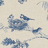 Sanderson Woodland Chorus Indigo / Linen Fabric