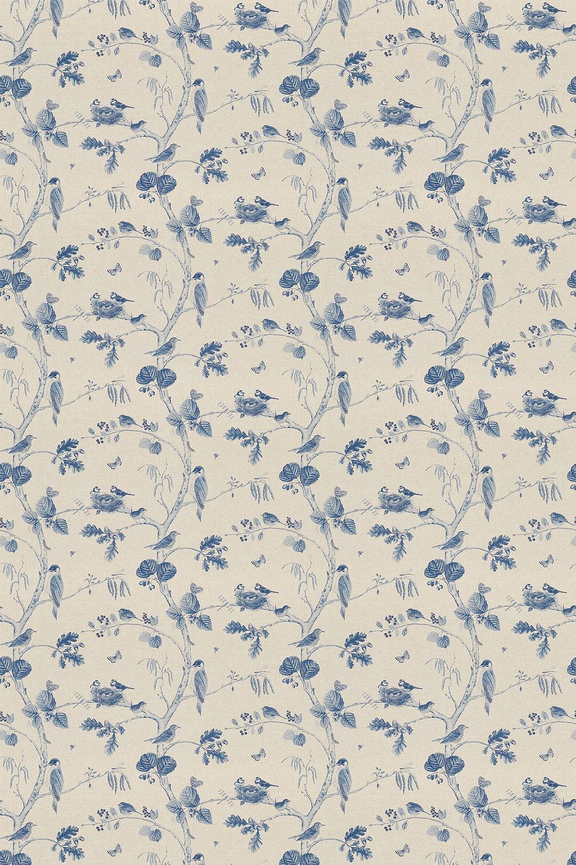 Woodland Chorus Fabric - Indigo / Linen - by Sanderson