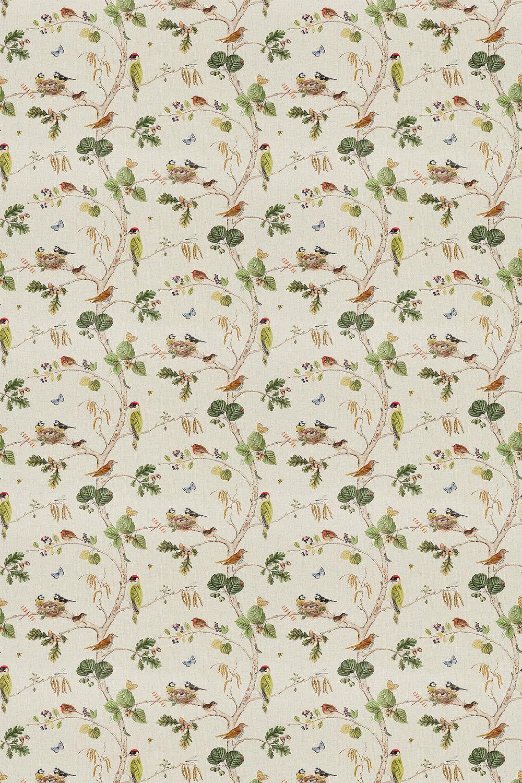 Woodland Chorus Fabric - Linen / Multi - by Sanderson