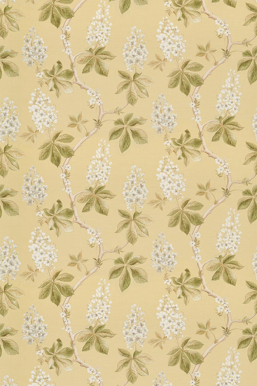 Chestnut Tree Fabric - Lemon / Lettuce - by Sanderson