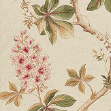 Sanderson Chestnut Tree Coral / Bayleaf Fabric - Product code: 225517