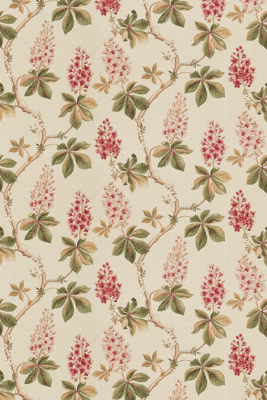 Chestnut Tree Fabric - Coral / Bayleaf - by Sanderson