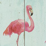 Albany Flamingo on Wood Aqua Blue Wallpaper