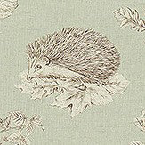 Sanderson Squirrel & Hedgehog Seaspray / Charcoal Fabric