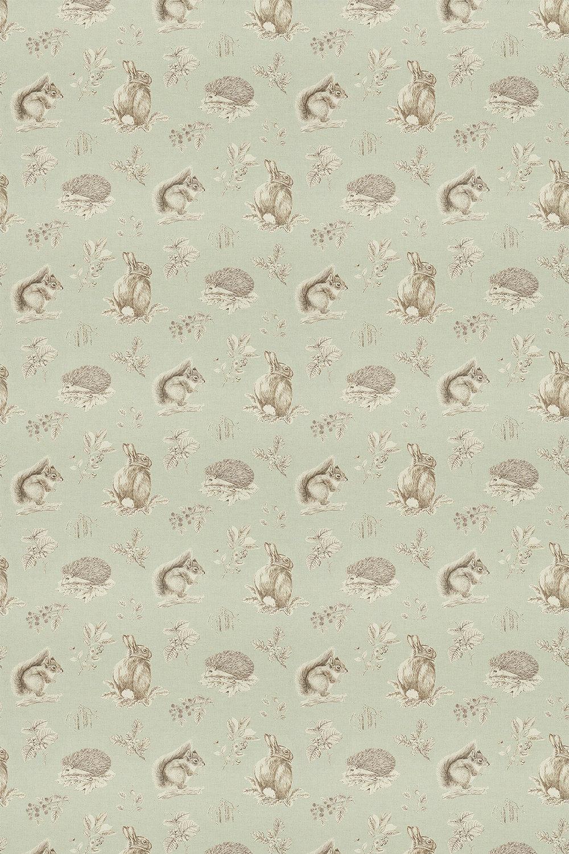 Squirrel & Hedgehog Fabric - Seaspray / Charcoal - by Sanderson