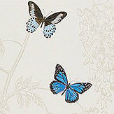 Sanderson Wisteria & Butterfly Cobalt and Chalk Fabric