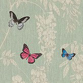 Sanderson Wisteria & Butterfly Seaspray / Multi Fabric