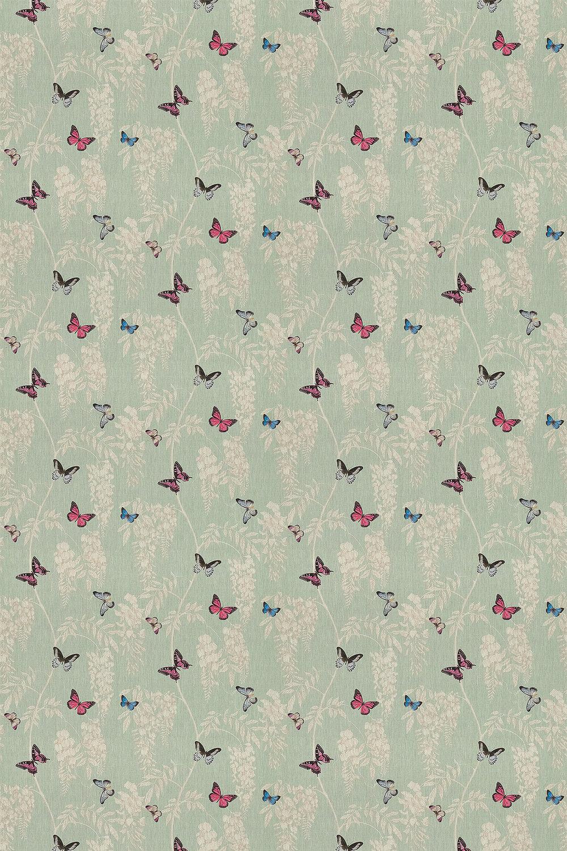 Wisteria & Butterfly Fabric - Seaspray / Multi - by Sanderson