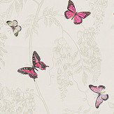 Sanderson Wisteria & Butterfly Fuchsia / Parchment Fabric - Product code: 225527