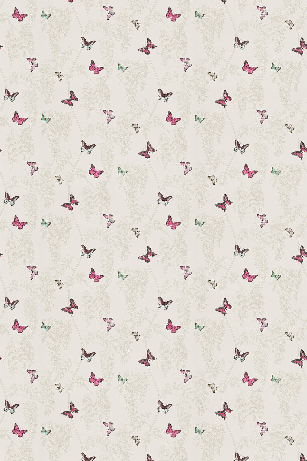 Wisteria & Butterfly Fabric - Fuchsia / Parchment - by Sanderson