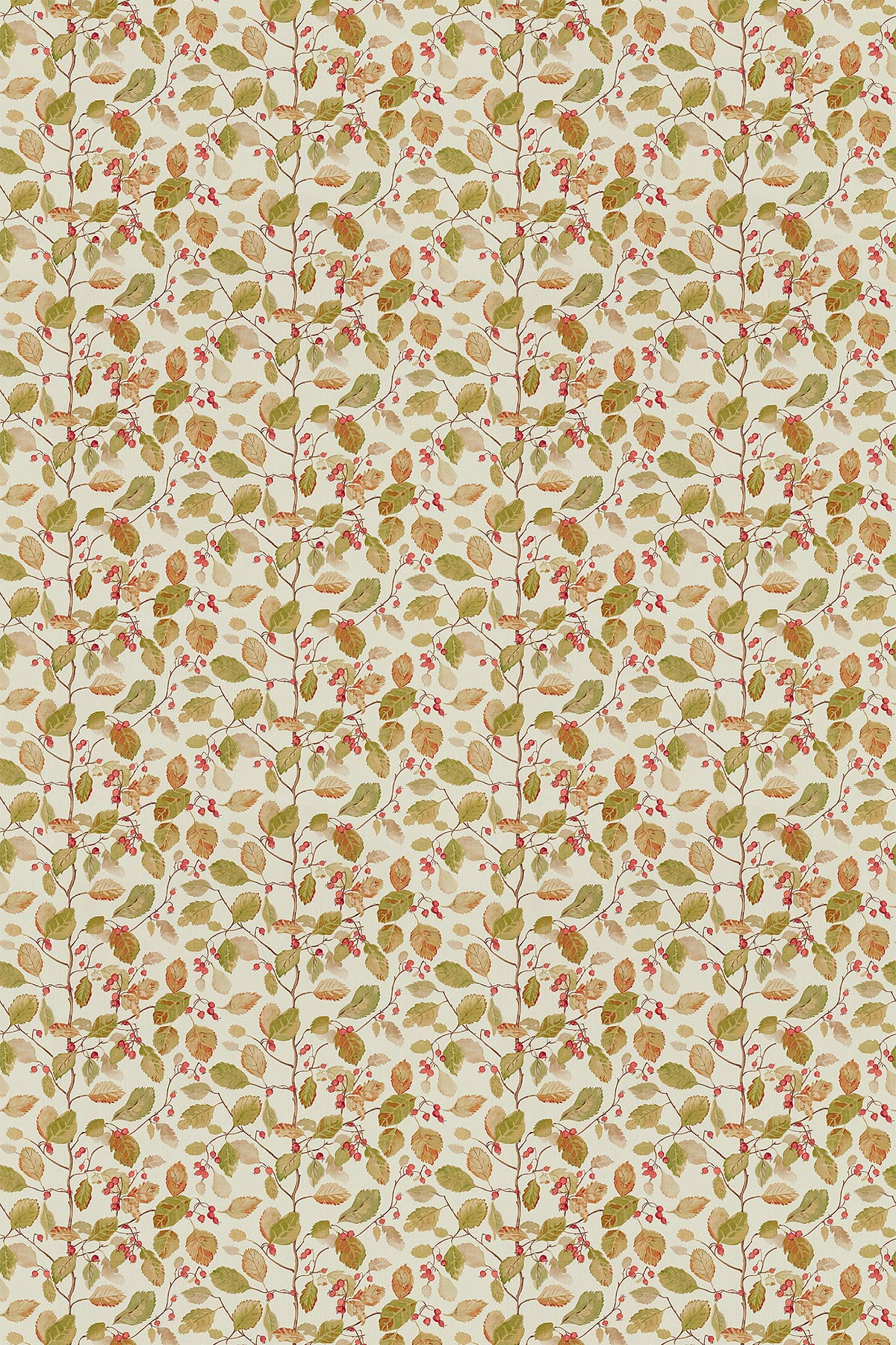 Woodland Berries Fabric - Rosehip / Moss - by Sanderson