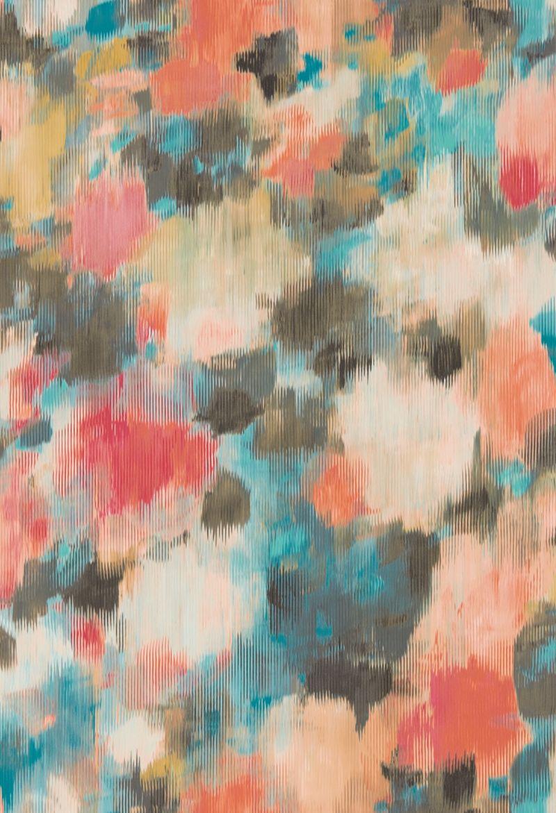 Harlequin Exuberance Coral Turquoise Wallpaper Main Image