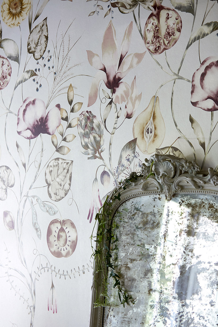 Quintessence Mural - Ochre / Olive / Heather - by Harlequin