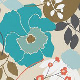 Harlequin Doyenne Sky / Olive / Coral Wallpaper - Product code: 111493