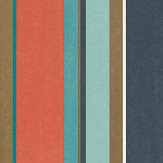 Harlequin Bella Stripe Coral / Gold / Turquoise Wallpaper - Product code: 111506
