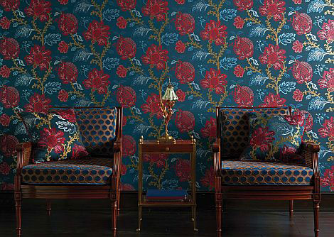 Nina Campbell Coromandel Blue / Red / Neutral Wallpaper