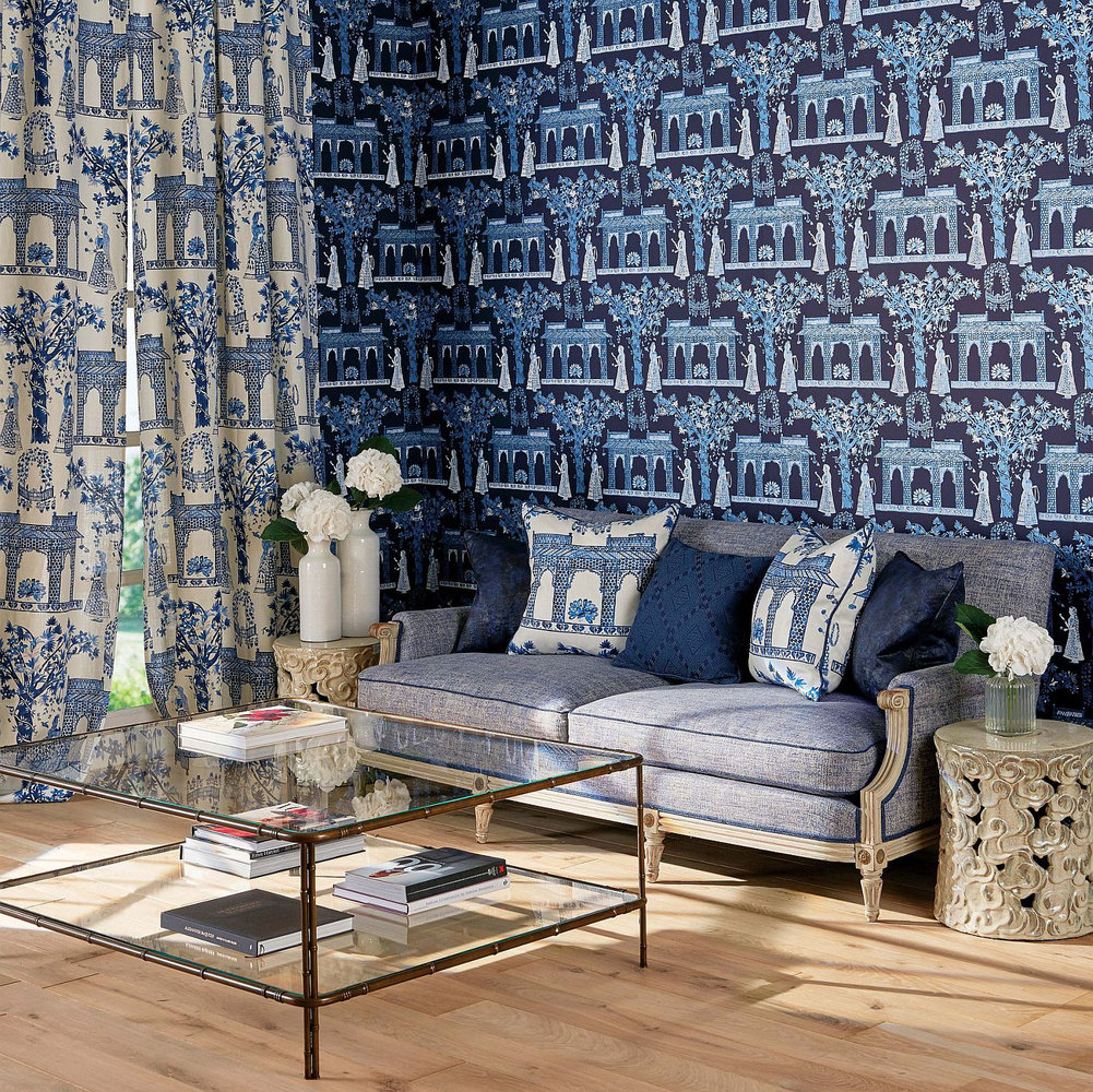 Nina Campbell Pavilion Garden Midnight Blue Wallpaper - Product code: NCW4272/01