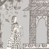 Nina Campbell Pavilion Garden Silver / Charcoal Wallpaper - Product code: NCW4272/02