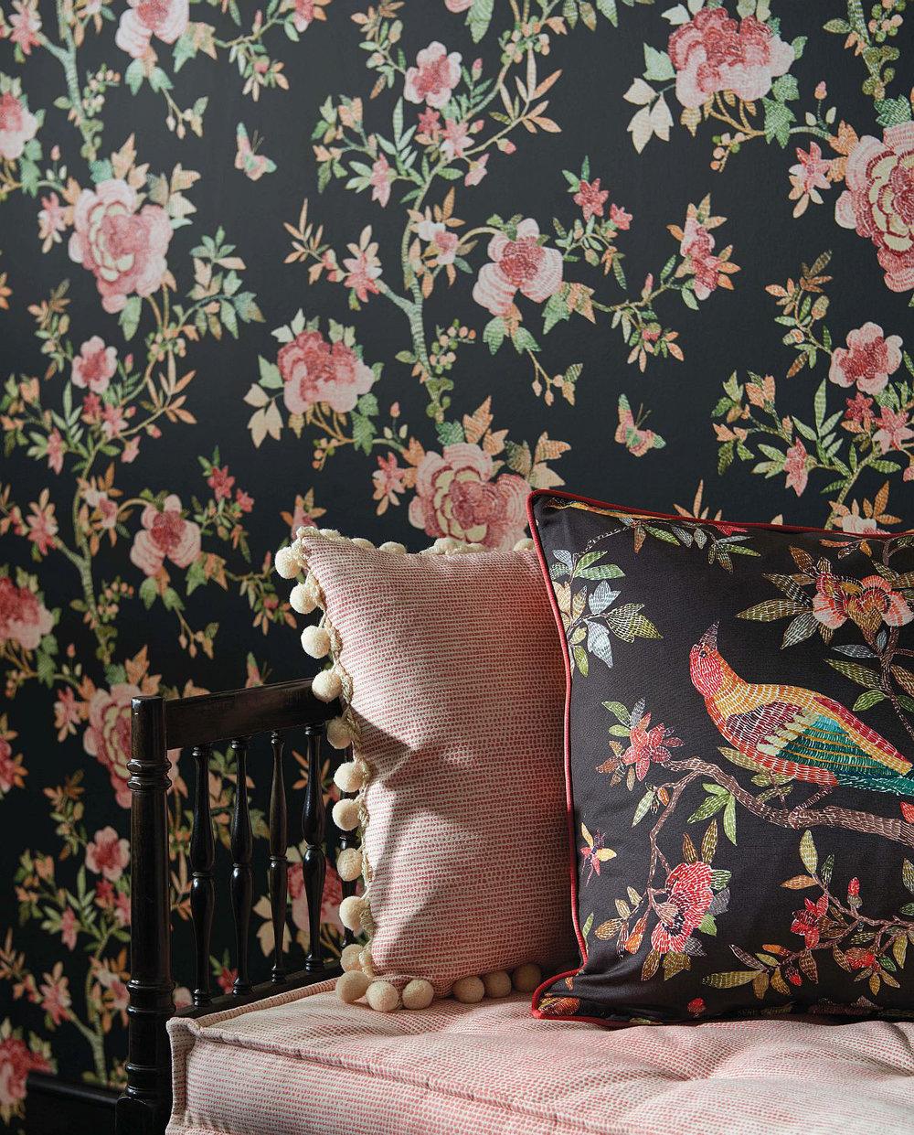 Perdana Wallpaper - Coral / Chocolate - by Nina Campbell