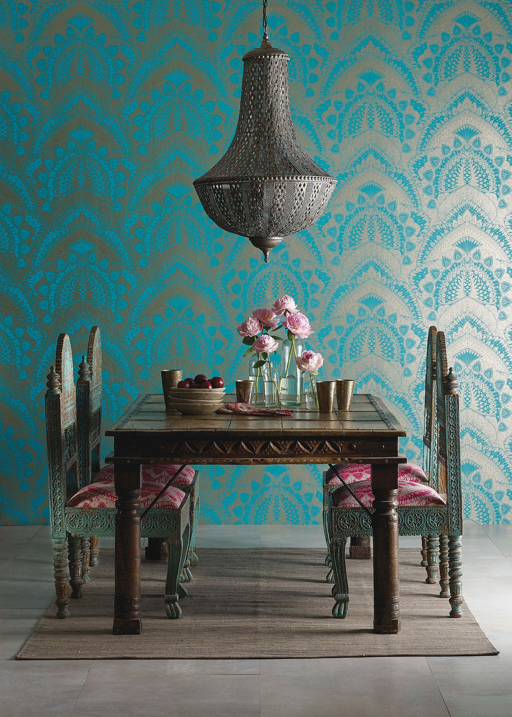 azari by matthew williamson turquoise gold wallpaper direct. Black Bedroom Furniture Sets. Home Design Ideas