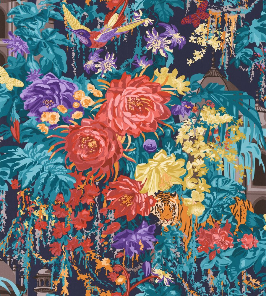 Matthew Williamson Mughal Garden Navy Paprika Wallpaper Main Image