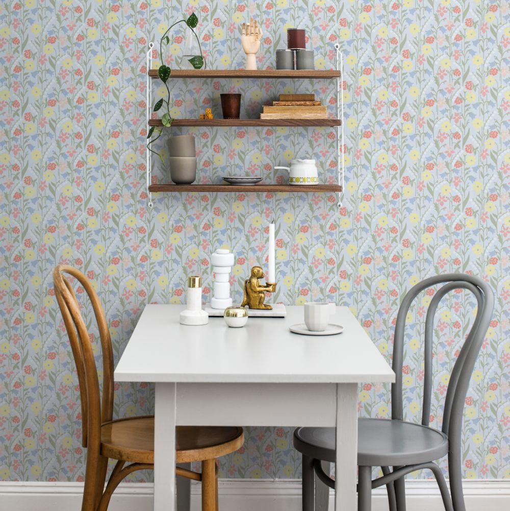 Sandberg Juniflora Green/Blue Wallpaper - Product code: 417-06