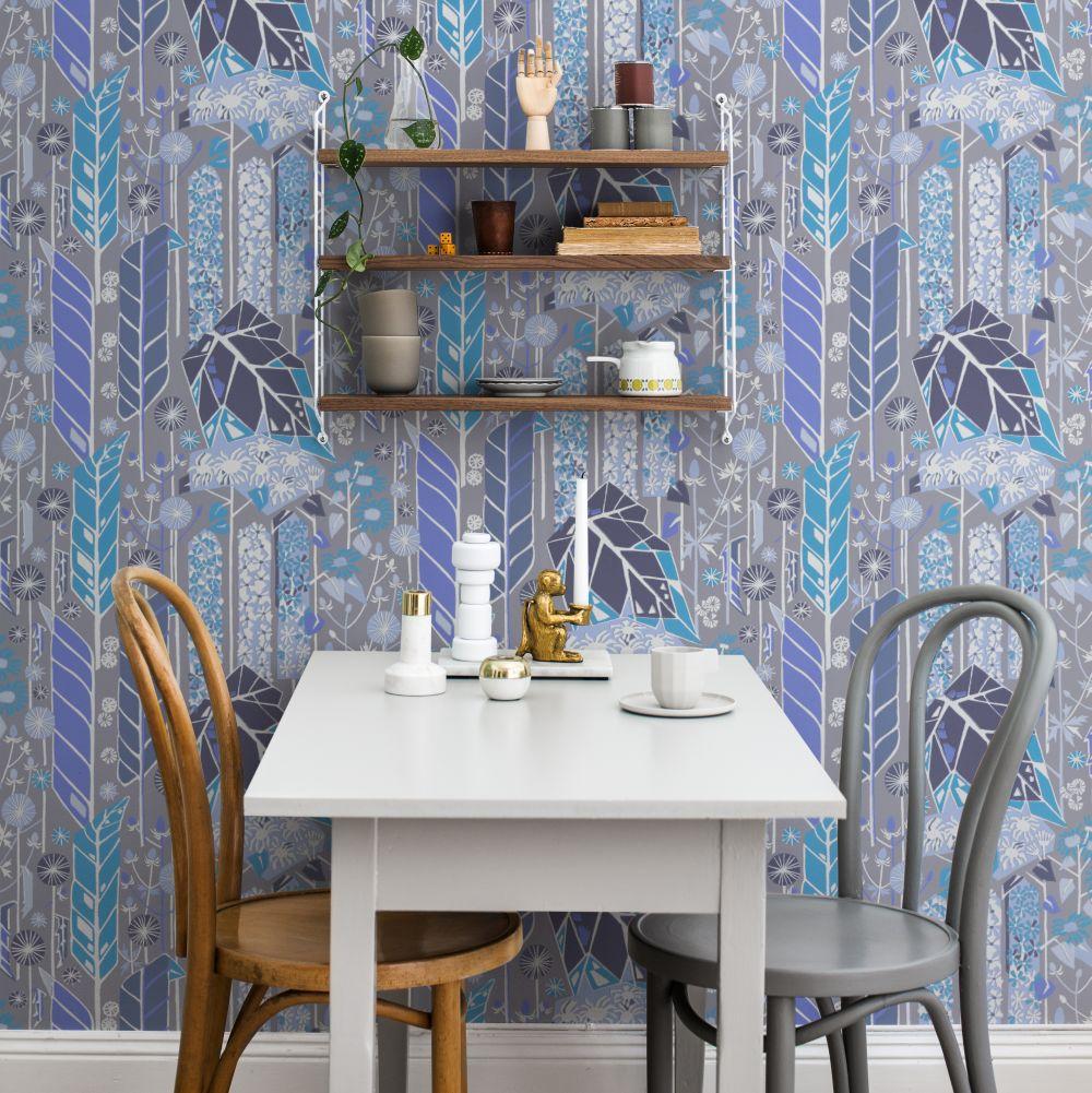 Senecio Wallpaper - Blue/Grey - by Sandberg