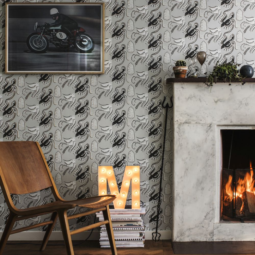 Fredsfaglar Wallpaper - Grey/Black - by Sandberg